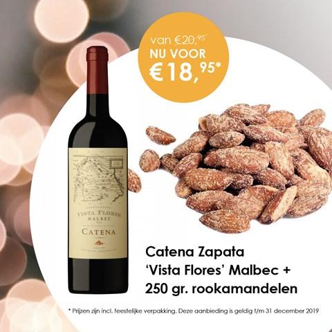 Catena Zapata 'Vista Flores' Malbec + 250 gr. rookamandelen