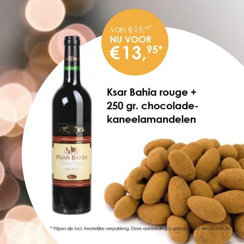 Ksar Bahia Rouge + 250 gr. chocolade-kaneel amandelen